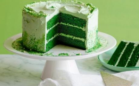 Green JELL-O- Cake with White Frosting